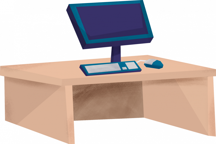 desk with computer graphic